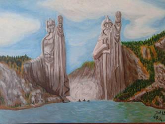 Argonath Isildur and Elendil by VeronicaRomero