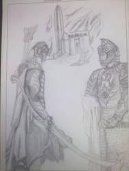 Rohirrim y elfo by VeronicaRomero