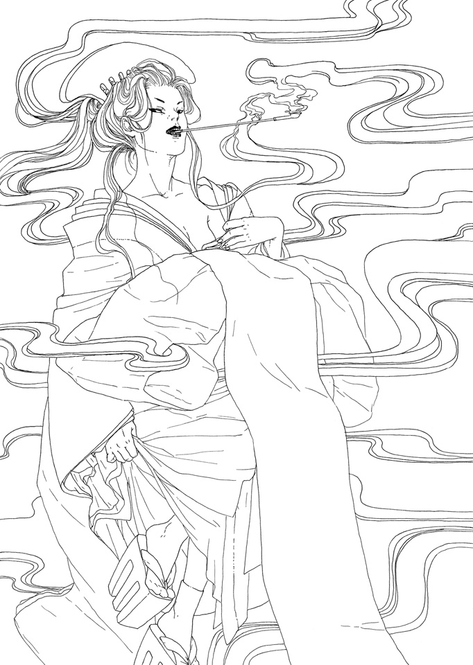 Oiran - lineart by Asiulus