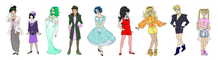 Sailor Senshi Fashion Decades By Asiulus On Deviantart