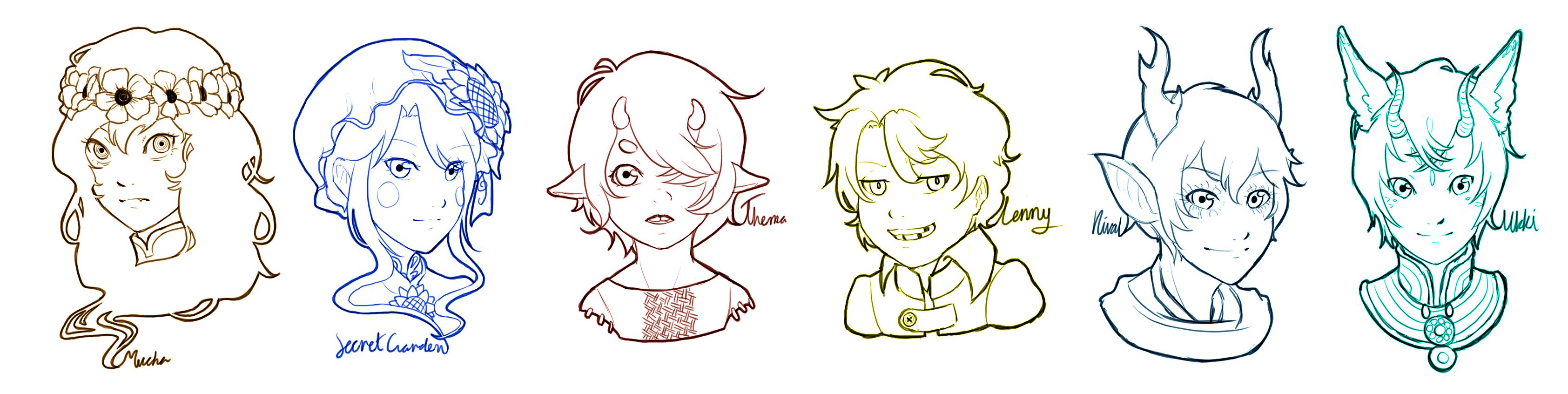 LN: Sketch headshots 1 by kishi-san