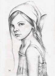 Pencil drawing girl by Enjoydotcom