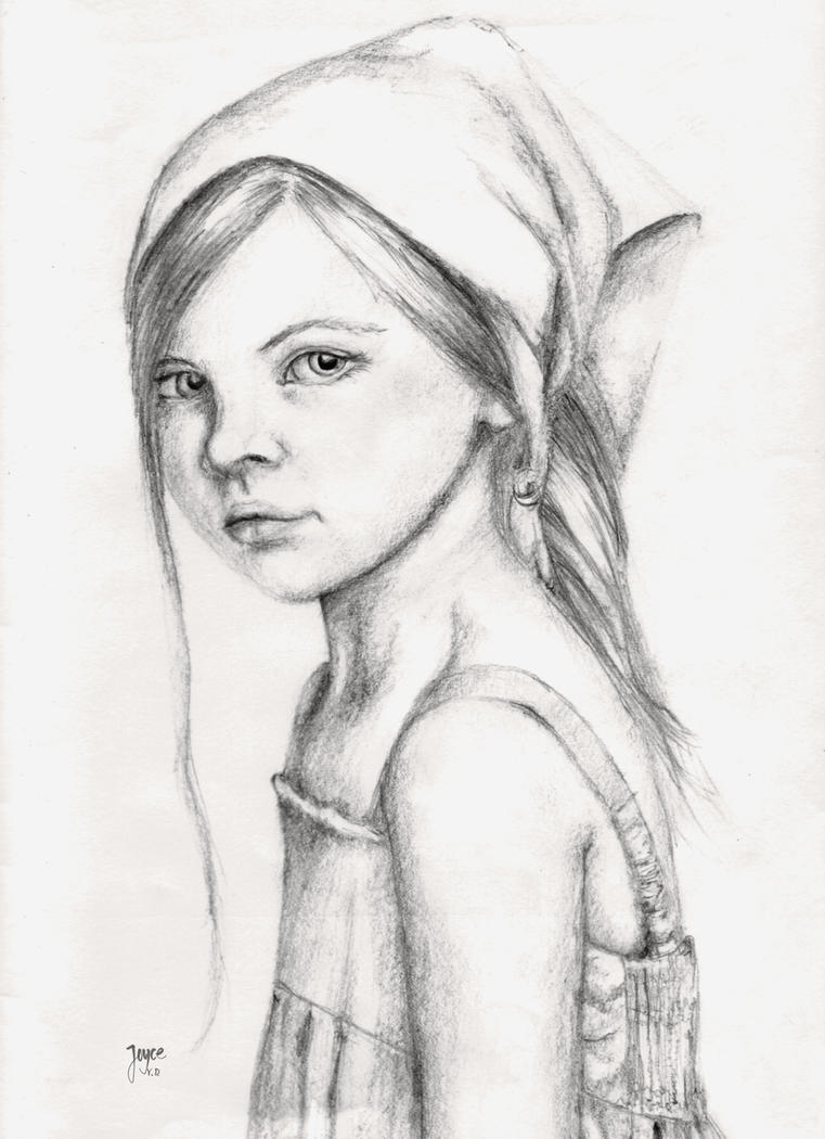 Pencil drawing girl by Enjoydotcom
