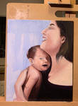 mom and laughing baby in oil (Wip).