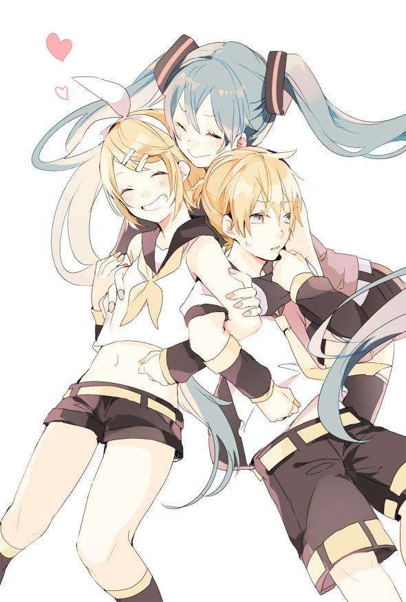 Vocaloid - Miku n' Kagamine Twins render (png) by orihimeyuuka