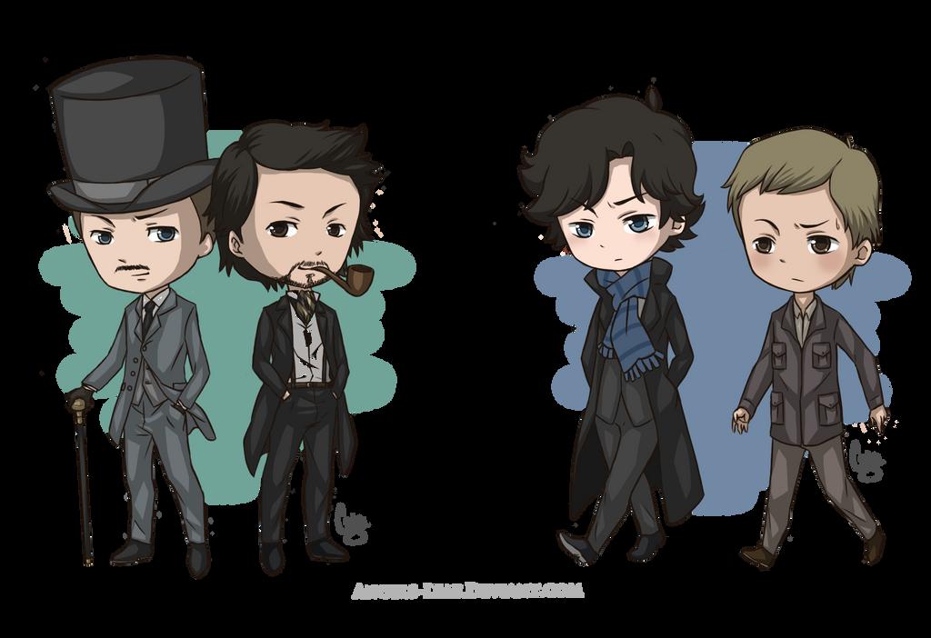 Sherlock Holmes Chibis by Angels-Leaf
