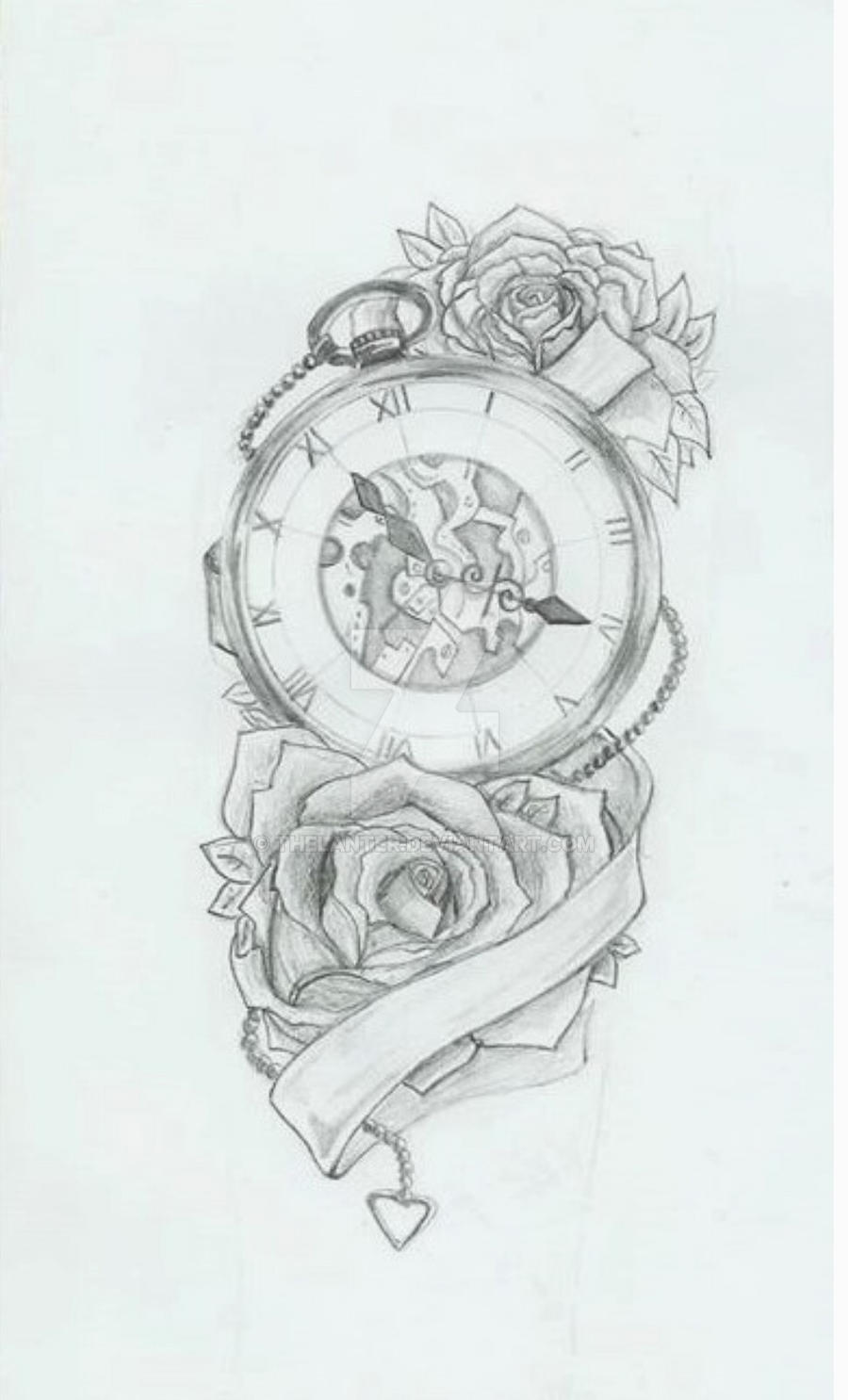 Rose Clock Tattoo Designs Drawing: Clock N' Roses By TheLanter On DeviantArt