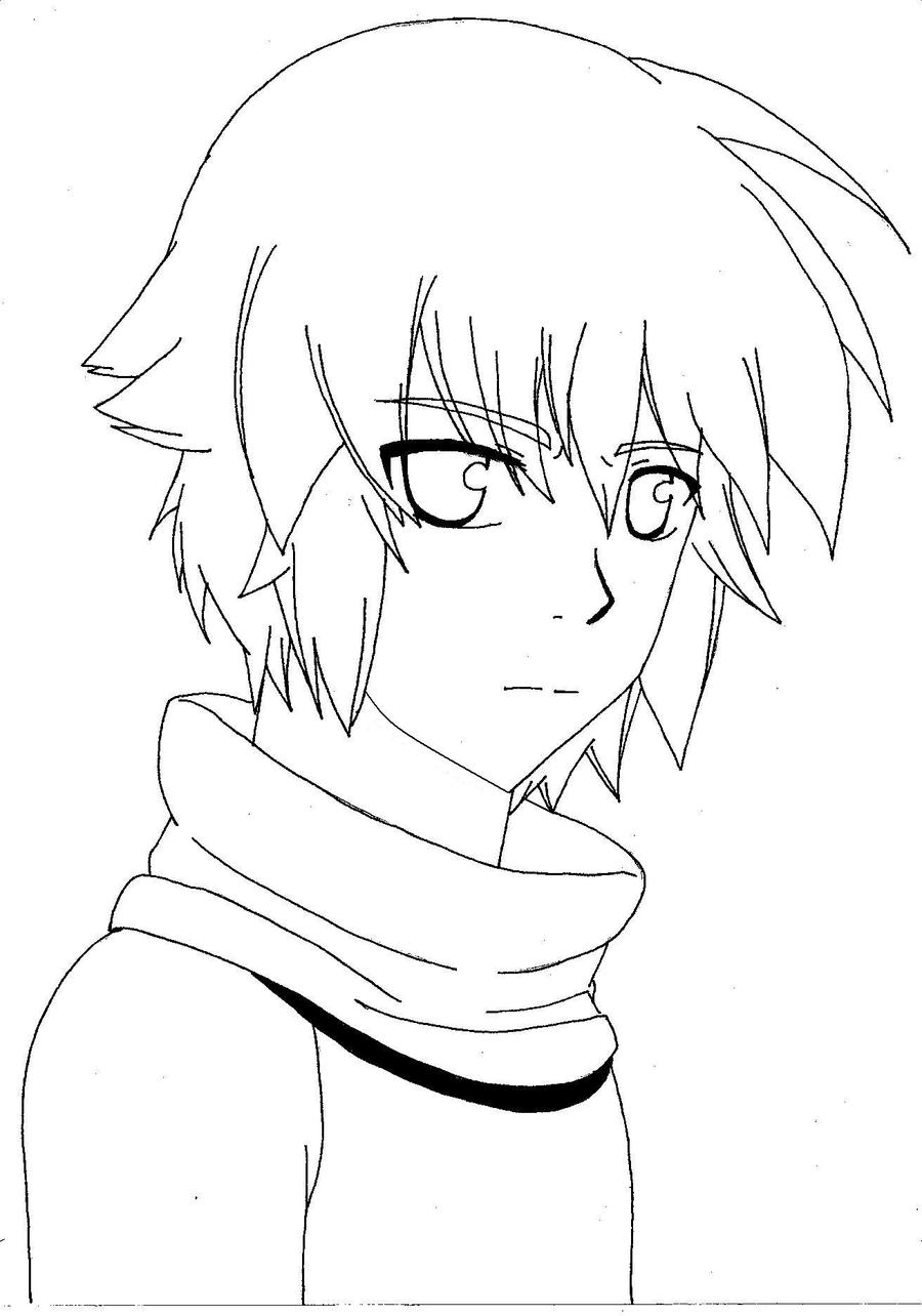 Lineart Anime Boy : Anime boy line art by falsexmemories on deviantart