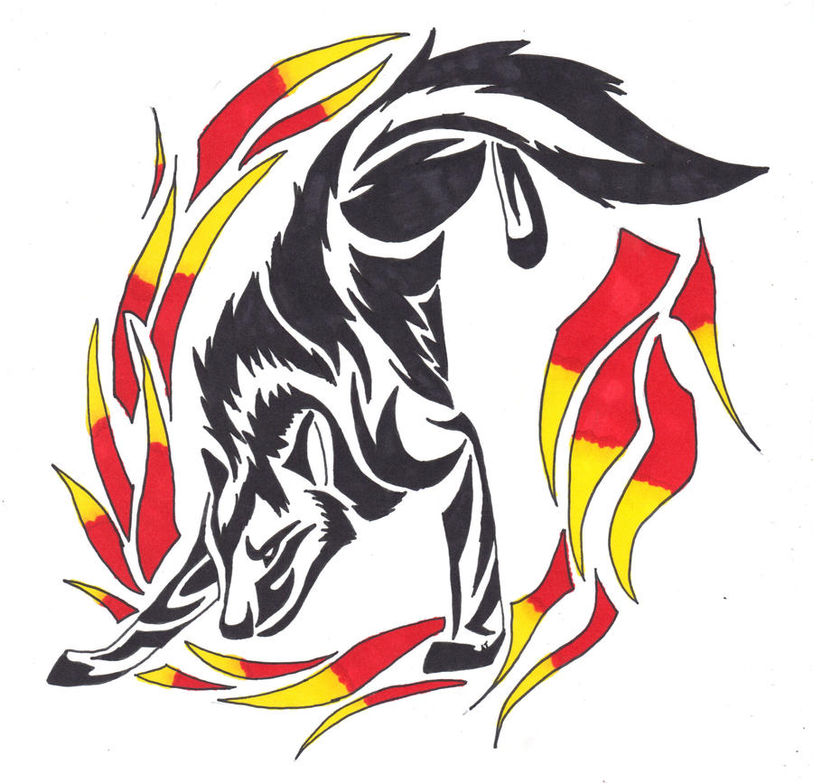 Wolf Through Fire Tribal by wolfhappy