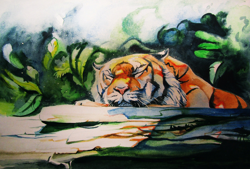 Tiger sleeping in the sun. Watercolor by SalamanDra-S