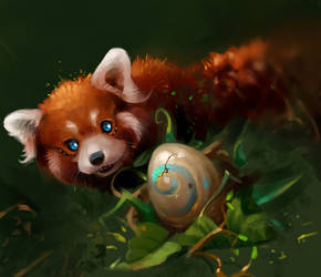 Red magic panda and egg 2021