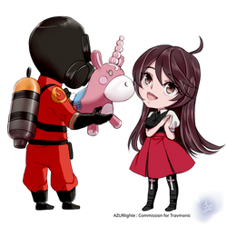 [Commission] Travia Clark and the RED Pyro by AZURlighte