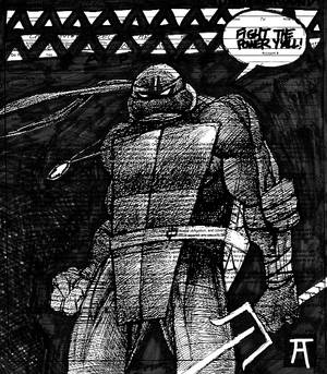 Raph Sketch Fight The Power BW