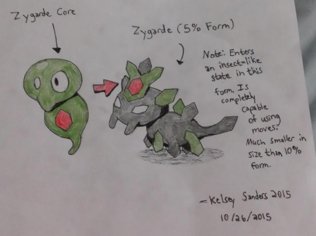 Zygarde Core and Zygarde 5% Form by KelseyEdward