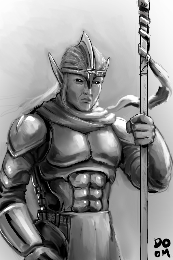 Elf Warrior Sketch by DoomCMYK