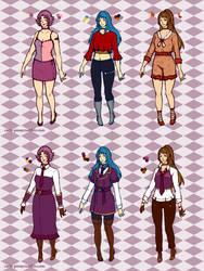 Mauve, Azul, and Marron (casual + uniform) by ehrehnii