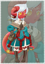 Elenor, Tiefling sorcerer - Commission
