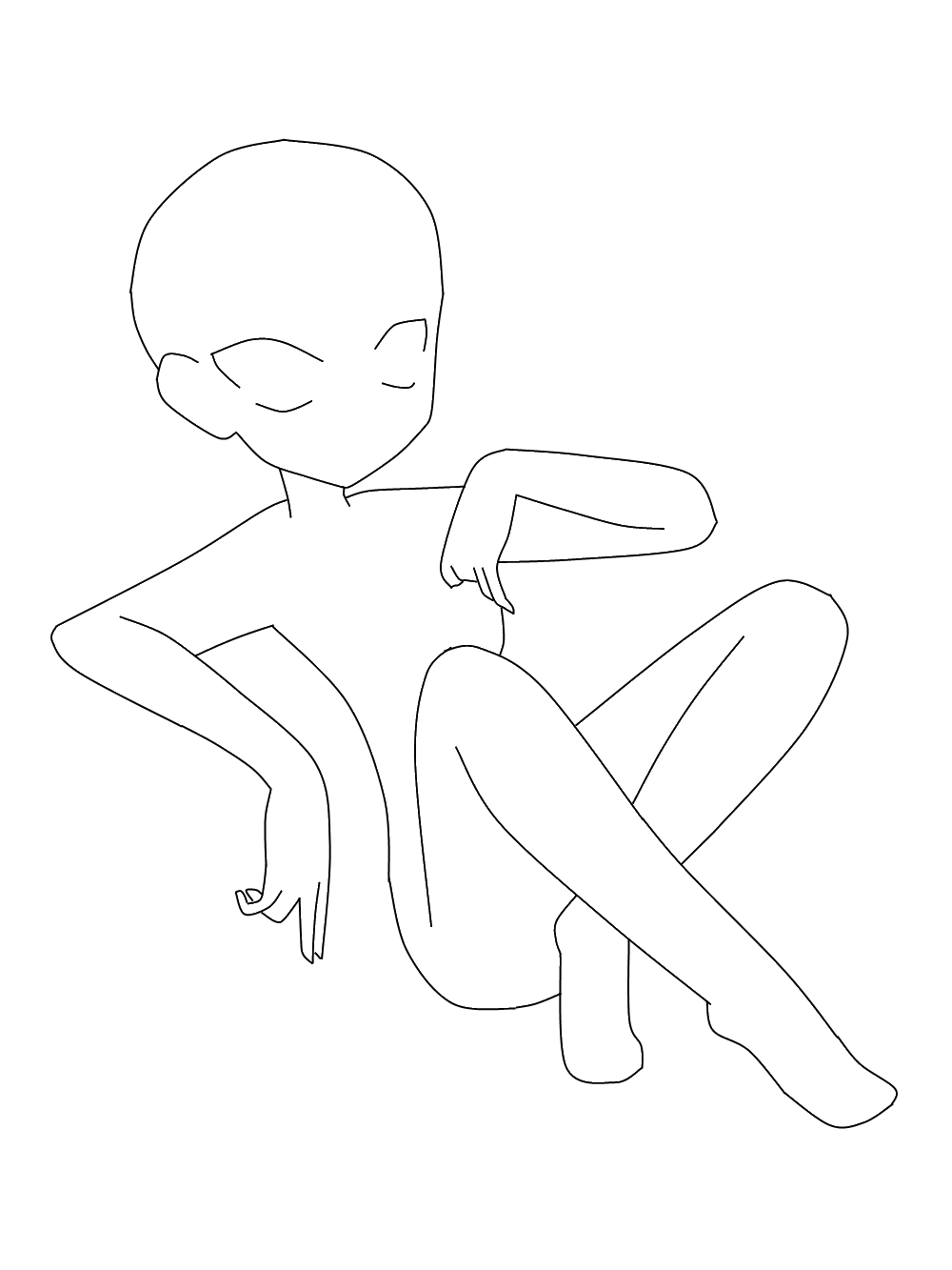 Line Drawing Woman Body : Anime girl sitting base by yuukannashouka on deviantart