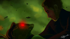Star Lord saves Gamora by Pabloeinstein