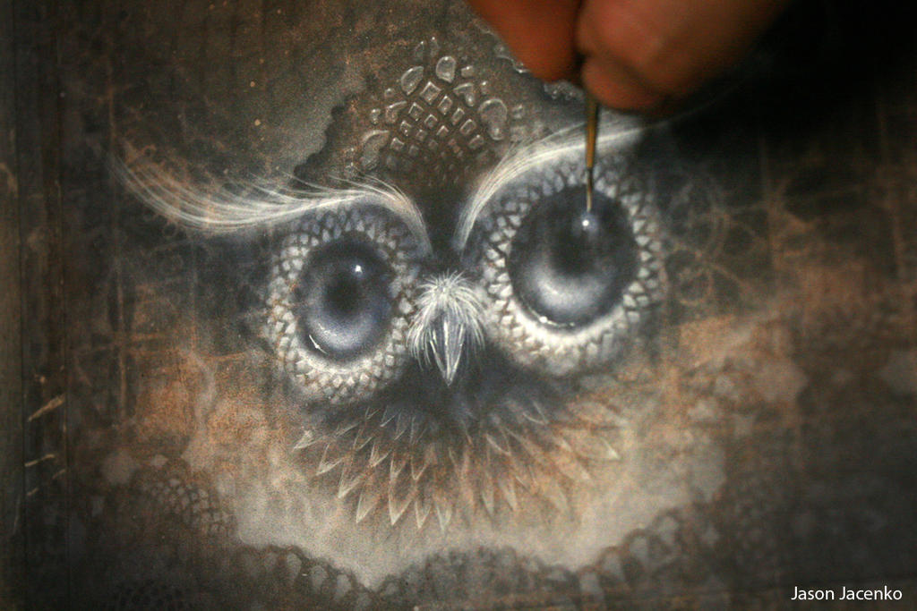 painting an owl by JasonJacenko