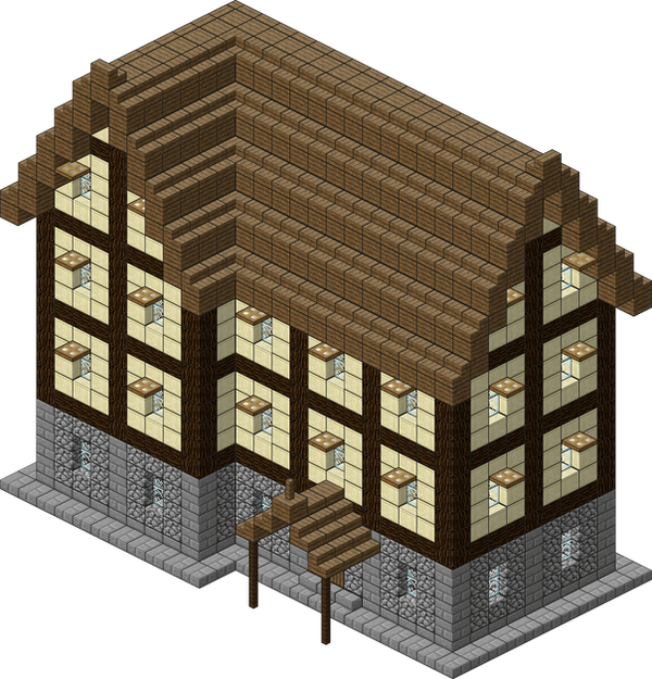 Medieval village large inn by spasquini on deviantart for Minecraft base blueprints