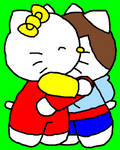 Mimmy and Ian huggin each other
