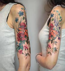 Meadow sleeve tattoo by yadou