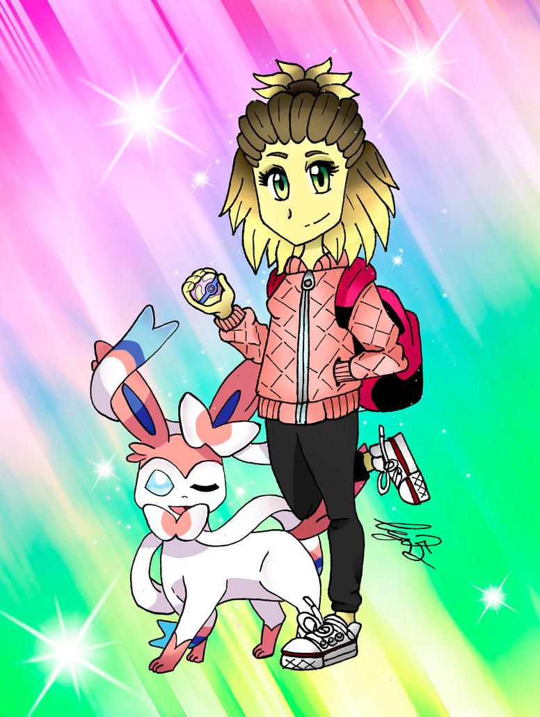 Sandra and her Sylveon by Ccjay25