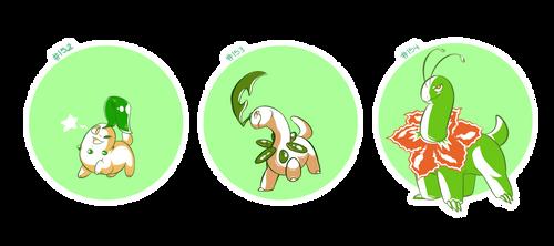 pokemon a day: 152-154 by hydroflorix