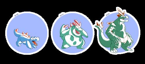 pokemon a day: 158-160 by hydroflorix