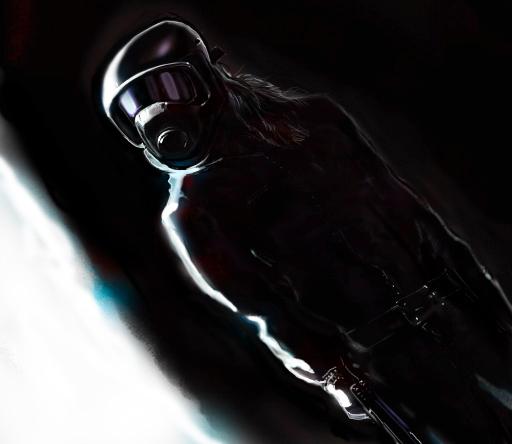 Man with helmet by machine8