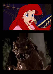 Ariel is scare from Edgar the bug