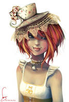 commission: teacup hat girl by vmbui