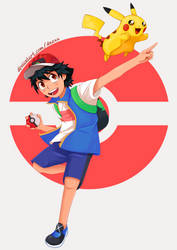 Ash Ketchum and Pikachu from Pokemon Journeys