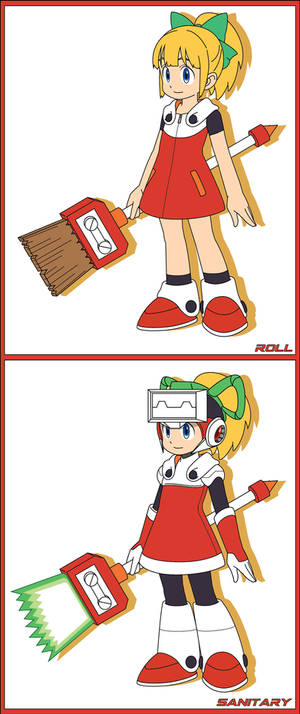 Roll and Sanitary (Mega Man 11 art style)