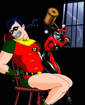 Robin trapped by Harley Quinn