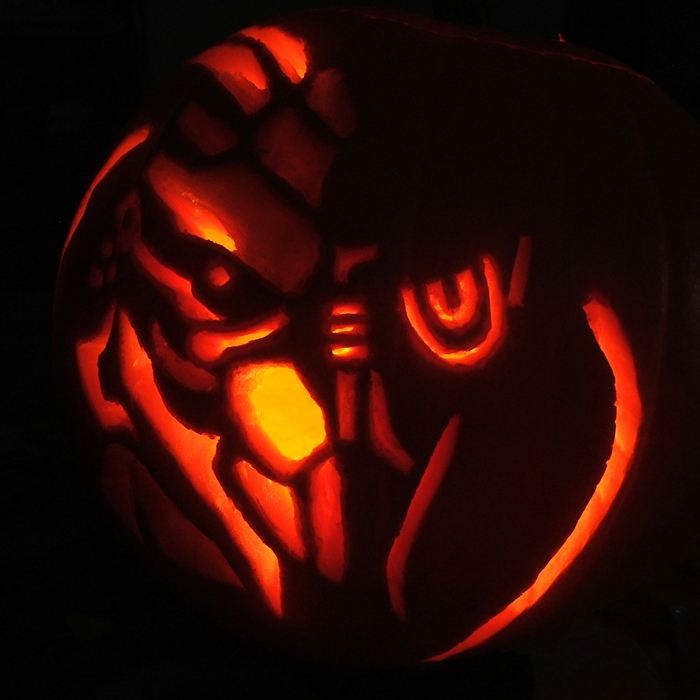 Garrus Vakarian pumpkin by cjhonline