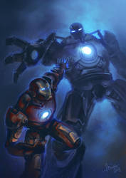 Iron Man vs. Iron Monger by TheMinttu
