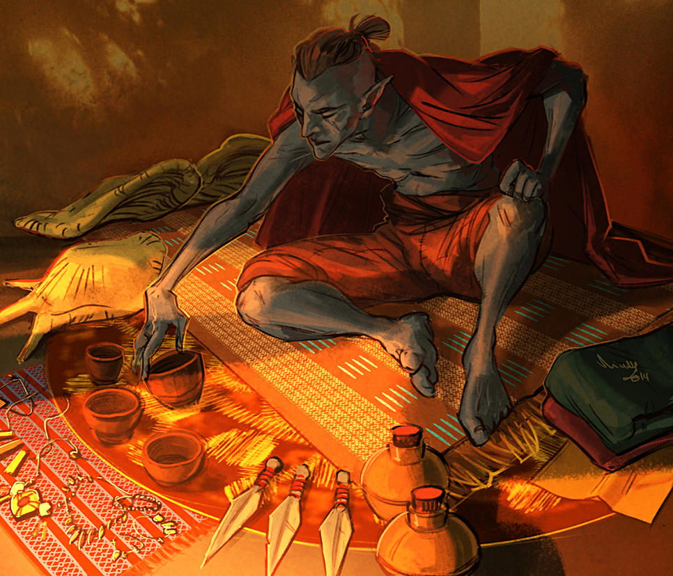 Dunmer merchant by TheMinttu