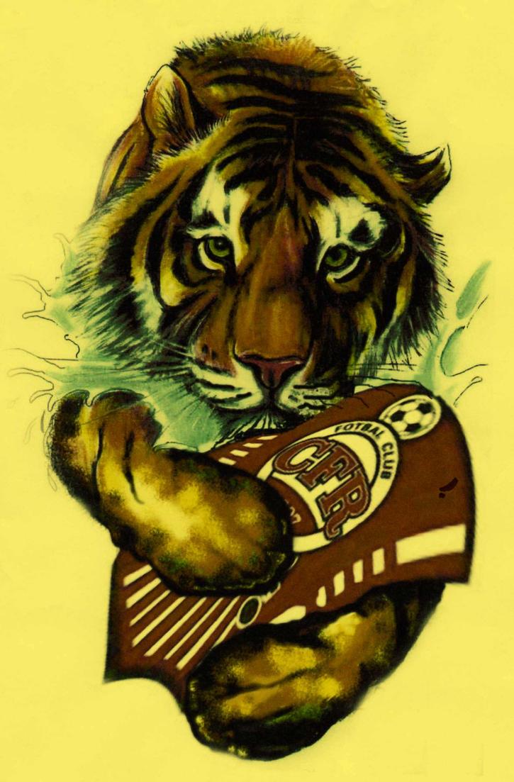 Tiger with football club logo tattoo model by dadi muki for Tattoo art club
