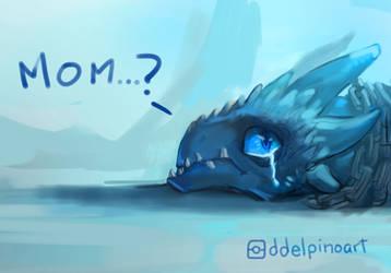 little sad ice Dragon by zerocelb