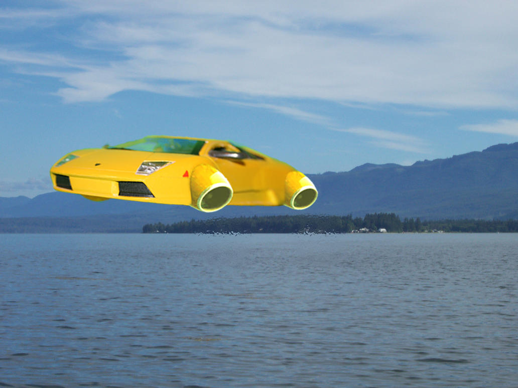 hover car over ocean by woodsman819