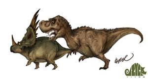 Styracosaurus and Tyrannosaurus