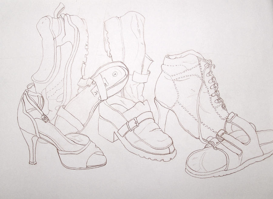 Contour Line Drawing In Art : Contour line drawing shoes by jaspercorel on deviantart