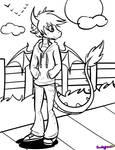 F2U Anthro dragon lineart