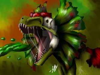 Dinotober day 16 dilophosaurus by LionsAngel22