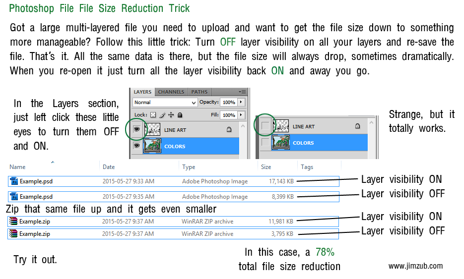 Photoshop File Reduction Trick by Zubby