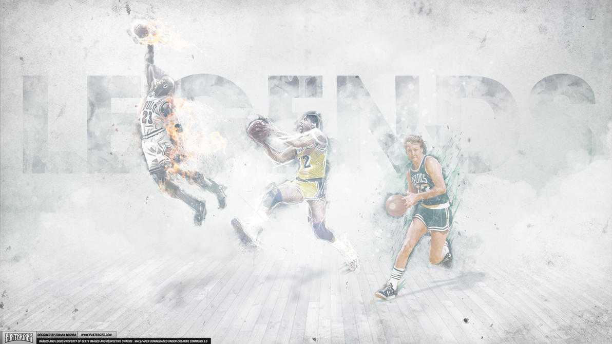 Magic Johnson, Larry Bird, Michael Jordan Legends by IshaanMishra