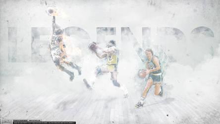 Magic Johnson, Larry Bird, Michael Jordan Legends by IshaanMishra