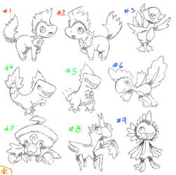 Pokemon Eclipse: Starters Sketches by TRspicy